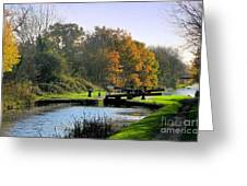 Canal Locks In Autumn Greeting Card
