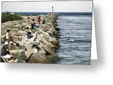 Canal Swim Risky Behavior Greeting Card