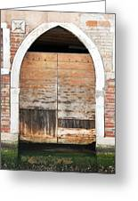 Canalside Weathered Door Venice Italy Greeting Card