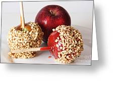 Candied Caramel And Regular Red Apple Greeting Card