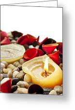 Candle And Petals Greeting Card