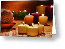 Candles Burning In A Spa  Greeting Card