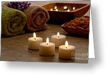 Candles In A Spa Greeting Card