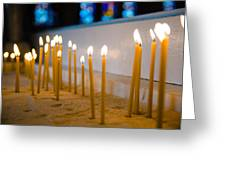 candles in the Catholic Church shallow depth of field Greeting Card
