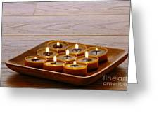 Candles In Wood Tray Greeting Card