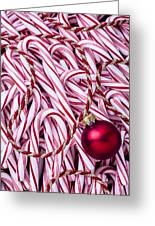 Candy Cane And Red Ornament Greeting Card