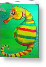 Candy Cane Seahorse Greeting Card