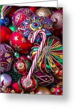 Candy Canes And Colorful Ornaments Greeting Card