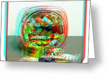 Candy Jar - Use Red-cyan Filtered 3d Glasses Greeting Card