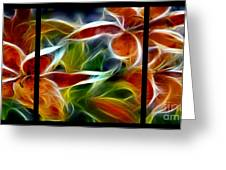 Candy Lily Fractal Triptych Greeting Card