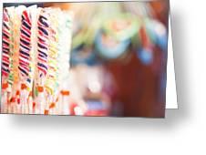 Candy Sticks At German Christmas Market Greeting Card by Susan Schmitz