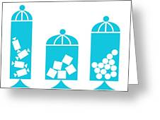 Canisters In Turquoise Greeting Card