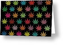 Cannabis Leaf Multi-coloured Pattern Greeting Card