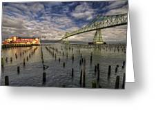 Cannery Pier Hotel And Astoria Bridge Greeting Card