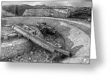 Cannon Remains From Ww2 Bw Greeting Card