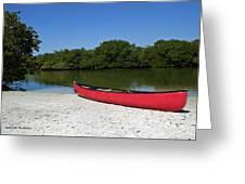 Canoe And Beach Greeting Card