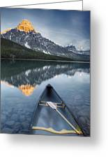 Canoe At Lower Waterfowl Lake With Greeting Card