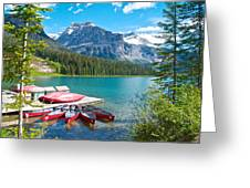 Canoe Livery On Emerald Lake In Yoho Np-bc Greeting Card