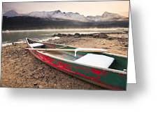 Canoe On Misty Fall Morning, Maligne Greeting Card