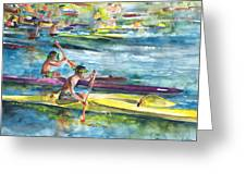 Canoe Race In Polynesia Greeting Card