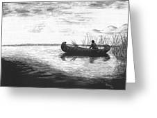 Canoe Silhouette Greeting Card by Lawrence Tripoli