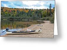 Canoe With An Engine Greeting Card