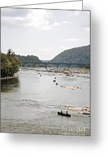 Canoeing On The Potomac River At Harpers Ferry Greeting Card