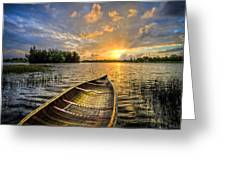 Canoeing At Sunrise Greeting Card