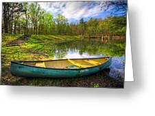 Canoeing At The Lake Greeting Card