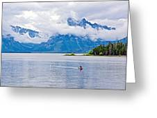 Canoeing In Colter Bay In Grand Teton National Park-wyoming Greeting Card