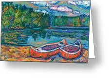 Canoes At Mountain Lake Sketch Greeting Card