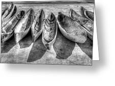 Canoes In Black And White Greeting Card