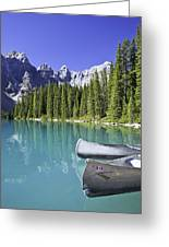 Canoes In Moraine Lake And Valley Of Greeting Card