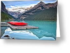 Canoes Of Lake Louise Alberta Canada Greeting Card