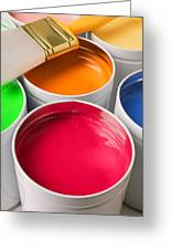 Cans Of Colored Paint Greeting Card