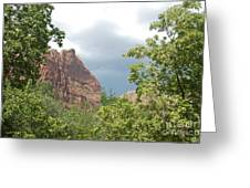 Canyon Wall Through The Trees Greeting Card