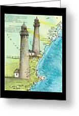 Cape Ann Twin Lighthouses Ma Nautical Chart Map Art Cathy Peek Greeting Card
