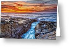 Cape Arago Crevasse Hdr Greeting Card