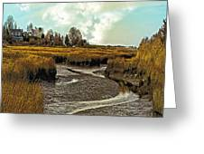 Cape Cod Americana - Low Tide In A Barnstable Village Marsh -  Greeting Card
