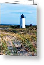Cape Cod Lighthouse In Prowincetown  At  Summer Time Greeting Card