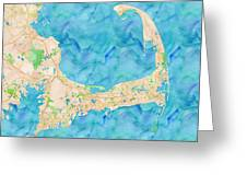 Cape Cod Watercolor Map Greeting Card