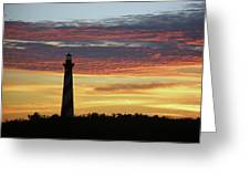 Cape Hatteras Lighthouse At Sunset Greeting Card