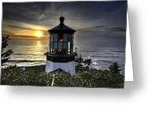 Cape Meares Lighthouse At Sunset Greeting Card