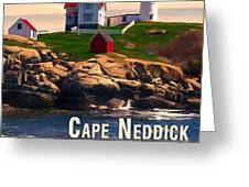 Cape Neddick Lighthouse  At Sunset  Greeting Card