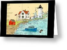 Cape Neddick Lighthouse Me Nautical Chart Map Art Cathy Peek Greeting Card