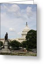 Capitol And Statue Washington Dc Greeting Card
