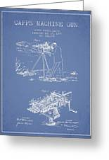 Capps Machine Gun Patent Drawing From 1899 - Light Blue Greeting Card