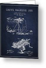 Capps Machine Gun Patent Drawing From 1899 - Navy Blue Greeting Card