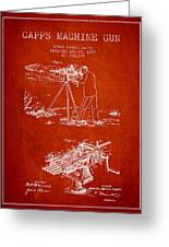 Capps Machine Gun Patent Drawing From 1899 - Red Greeting Card