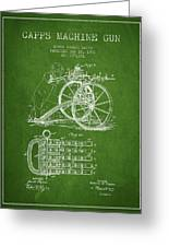 Capps Machine Gun Patent Drawing From 1902 - Green Greeting Card